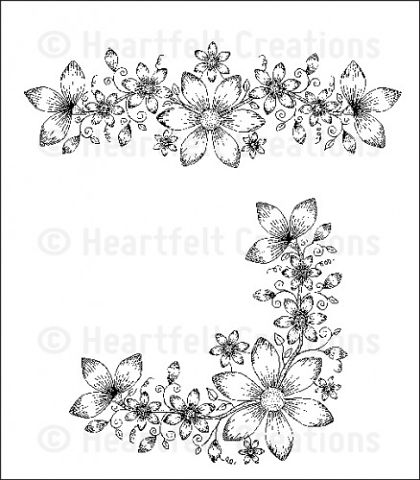 Штамп «Sun Kissed Fleur Border & Corner Cling Stamp Set»