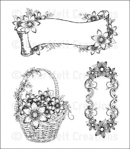 Штамп «Sun Kissed Fleur Tags & Basket Cling Stamp Set»