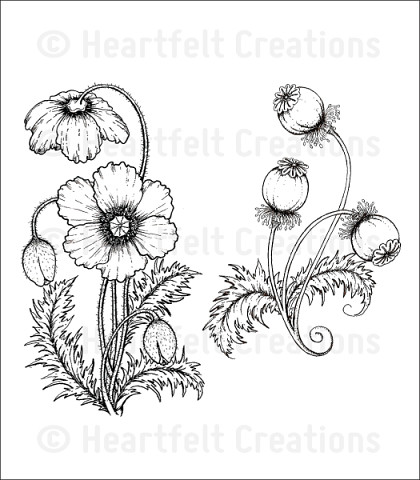 Штамп «Blazing Poppy Stems Cling Stamp Set»