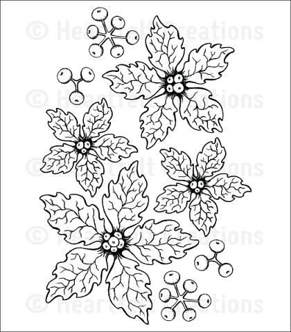 Штамп «Sparkling Poinsettia Cling Stamp Set»